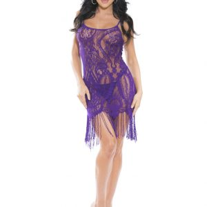 Purple Stretch Lace Chemise