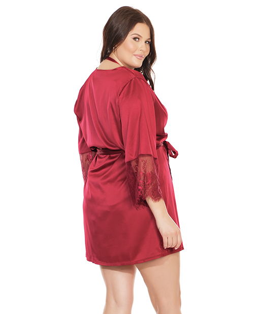 Burgundy satin robe