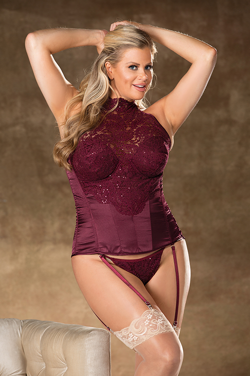 Satin and Lace Corset Plus Size