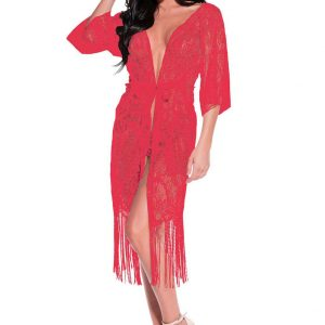 Long Lace Robe with Fringe