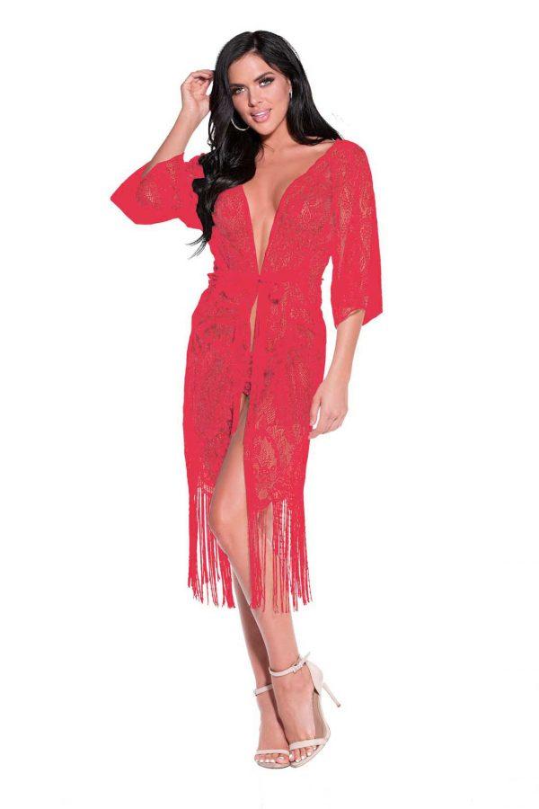 Long Lace Robe with Fringe