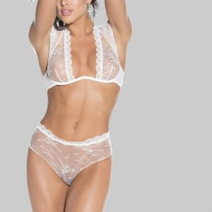 White lace bra panty set