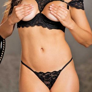 Open cup shelf bra set