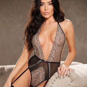 Animal print teddy lingerie
