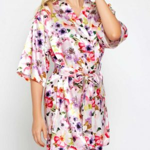 Short satin floral robe